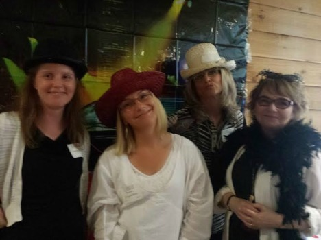 A few of our authors having fun in our photo area - L:  Catherine McKenzie, Barbara Claypole White, Lorna Landvik, and Randy Susan Meyers