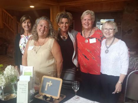 We had an amazing group of women greet our guests at the front lobby with name tags and a wine glass to use and to keep.