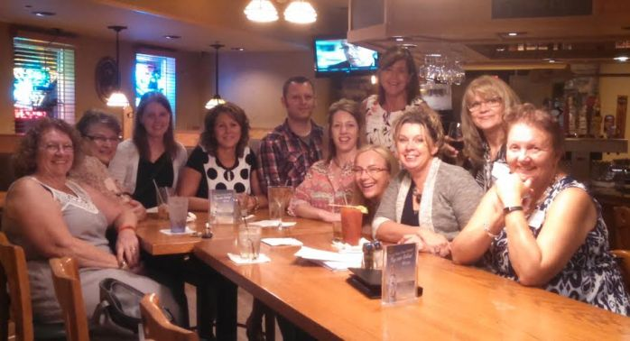Some of the Friends group and the authors - far left - Catherine McKenzie