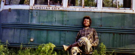 One of the final pictures Chis had taken of himself while living in the bus in Alaska days before he died.